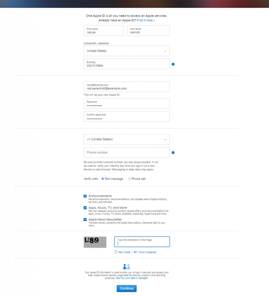 Create Your Apple ID